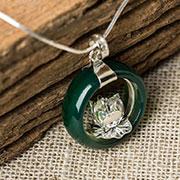 Jade with silver lotus pendant