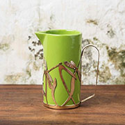 Milk jug with bronze holder